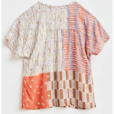 M&S White Stuff Womens Printed V-Neck Short Sleeve Top - 8 - Orange Mix, Orange Mix