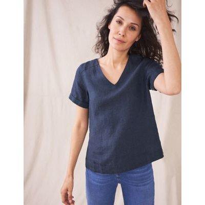 M&S White Stuff Womens Pure Linen V-Neck Short Sleeve Top - 6 - Navy, Navy