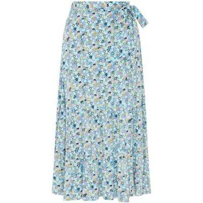M&S Finery London Womens Floral Midi Wrap Skirt - 10 - Blue Mix, Blue Mix
