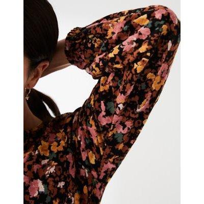M&S Fatface Womens Cotton Floral Long Sleeve Tunic - 8 - Black Mix, Black Mix