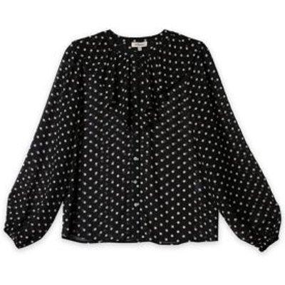 M&S Albaray Womens Polka Dot Ruffle Long Sleeve Blouse - 10 - Black Mix, Black Mix