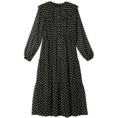 M&S Albaray Womens Polka Dot Collared Midi Waisted Dress - 8 - Black Mix, Black Mix