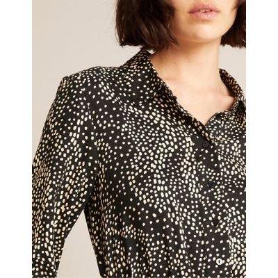 M&S Albaray Womens Spot Print Belted Midi Shirt Dress - 10 - Black Mix, Black Mix