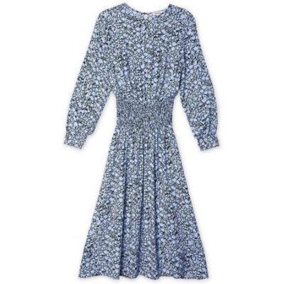 M&S Albaray Womens Floral High Neck Midi Waisted Dress - 10 - Blue Mix, Blue Mix