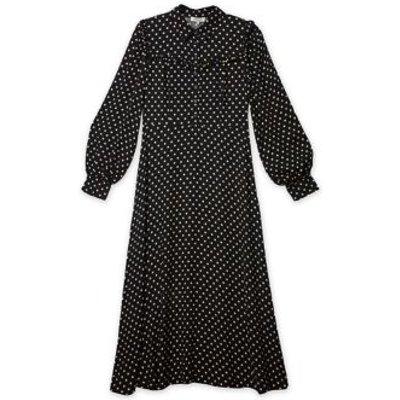 M&S Albaray Womens Polka Dot Frill Detail Midi Waisted Dress - 8 - Black Mix, Black Mix
