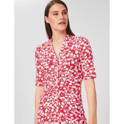 M&S Hobbs Womens Jersey Floral Button Through Midi Dress - 16 - Red Mix, Red Mix