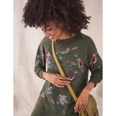 M&S White Stuff Womens Pure Cotton Bird Print Long Sleeve Tunic - 16 - Green Mix, Green Mix