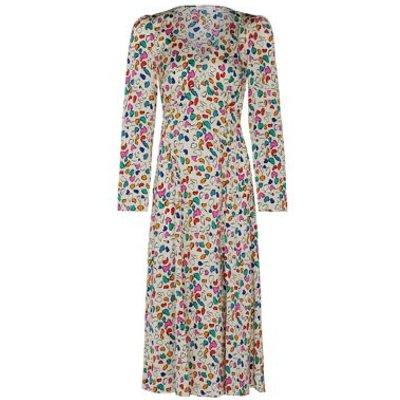 M&S Finery London Womens Satin Printed V-Neck Midi Tea Dress - 8 - Cream Mix, Cream Mix