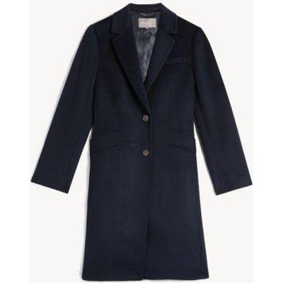 M&S Jaeger Womens Pure Wool Boyfriend Coat - 8 - Navy, Navy,Camel,Light Grey,Rust