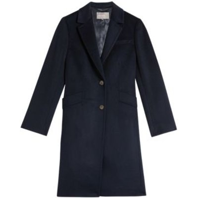 M&S Jaeger Womens Pure Wool Boyfriend Coat - 8 - Navy, Navy,Camel