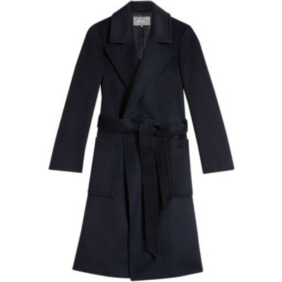 M&S Jaeger Womens Pure Wool Belted Longline Coat - 6 - Navy, Navy,Camel,Light Blue