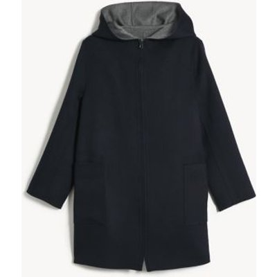 M&S Jaeger Womens Pure Wool Reversible Hooded Coat - Navy Mix, Navy Mix