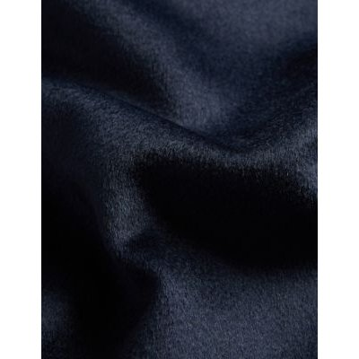 M&S Jaeger Womens Pure Wool Ribbed Neck Coat - 6 - Navy, Navy