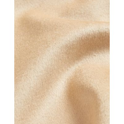 M&S Jaeger Womens Pure Wool A-Line Coat - 8 - Light Camel, Light Camel,Dark Purple