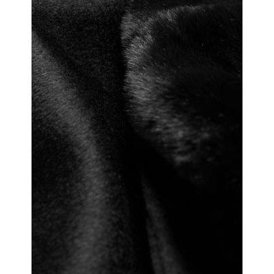 M&S Jaeger Womens Pure Wool Belted Wrap Coat - 6 - Black, Black