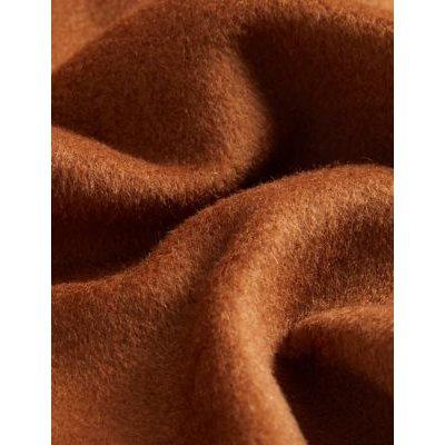 M&S Jaeger Womens Pure Wool Funnel Neck Cocoon Coat - 8 - Dark Camel, Dark Camel