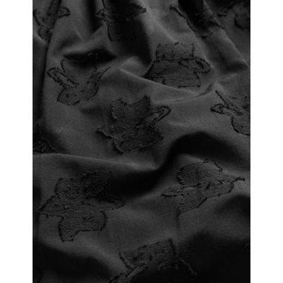 M&S Jaeger Womens Cotton Jacquard V-Neck Midi Waisted Dress - 6 - Black, Black