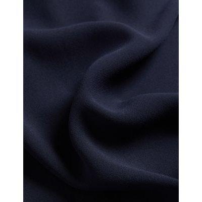 M&S Jaeger Womens Crepe Tie Neck Knee Length Shift Dress - 16 - Navy Mix, Navy Mix,Black/White