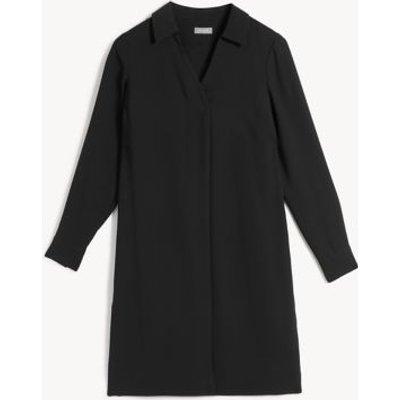 M&S Jaeger Womens V-Neck Knee Length Swing Dress - 18 - Black, Black,Navy