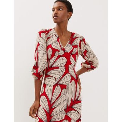 M&S Jaeger Womens Regular Fit Leaf Print Midi Tea Dress - 16 - Red, Red