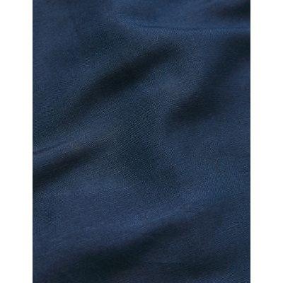 M&S Jaeger Womens Pure Linen Floral V-Neck Midi Smock Dress - 6 - Navy, Navy
