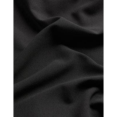 M&S Jaeger Womens Crepe Tie Neck Knee Length Shift Dress - 8 - Black, Black