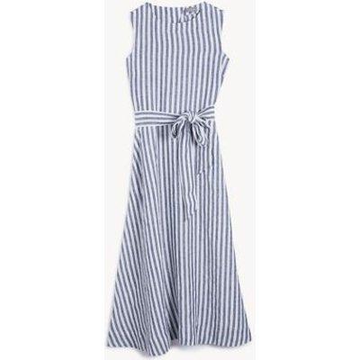 M&S Jaeger Womens Pure Linen Striped Midi Waisted Dress - 8 - Navy/White, Navy/White
