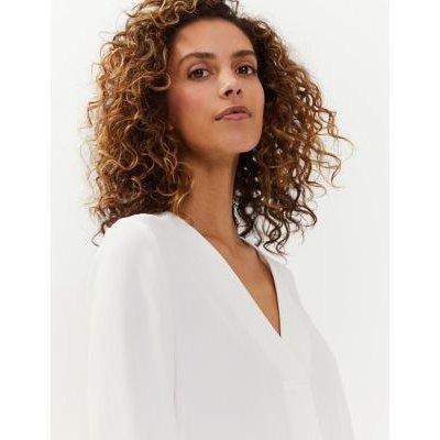 M&S Jaeger Womens Crepe V-Neck Long Sleeve Blouse - 8 - Ivory, Ivory,Navy