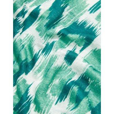 M&S Jaeger Womens Pure Linen Animal Print Short Sleeve Top - XS - Blue Mix, Blue Mix