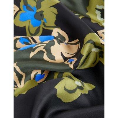 M&S Jaeger Womens Silk Floral Midi A-Line Skirt - 6 - Green, Green