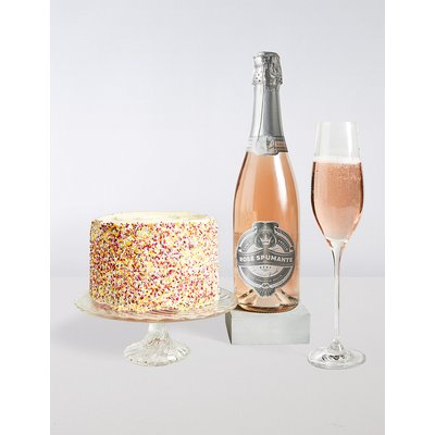 Happy Birthday Rainbow Cake with Sparkling Rosé Gift Set