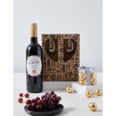 Red Wine, Chocolates and Glasses Gift Set