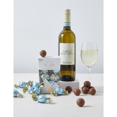 White Wine and Swiss Chocolates Gift Selection
