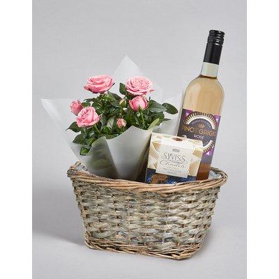 Pink Rose Plant, Rose Wine & Swiss Chocolates Hamper