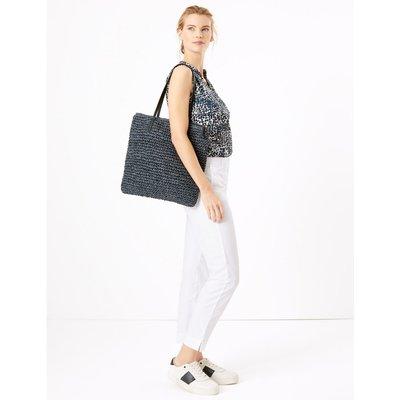 Straw Shopper Bag navy
