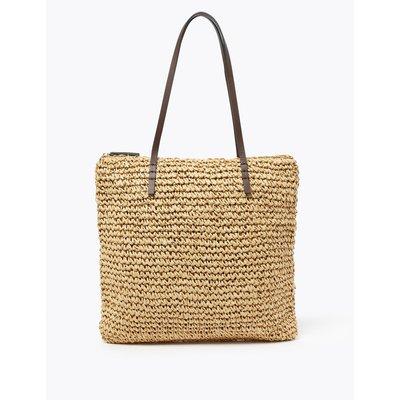 Straw Shopper Bag beige