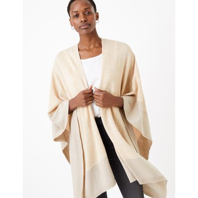 Knitted Colour Block Poncho beige