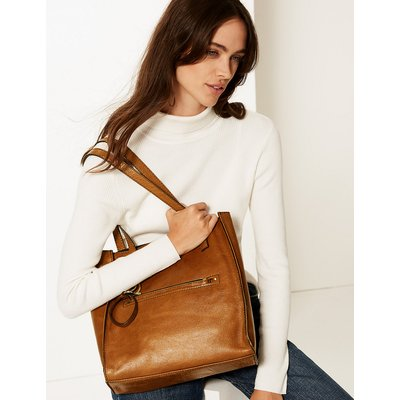 M&S Collection Leather 3 Compartment Tote Bag