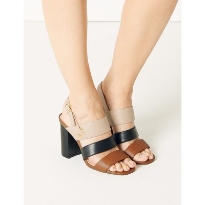 M&S Collection Multi Strap Block Heel Slingback Sandals