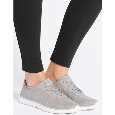 Shimmer Lace-up Trainers silver