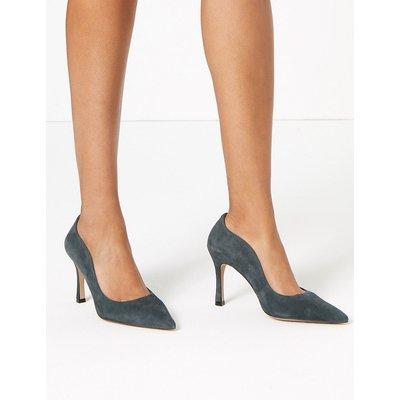 Autograph Suede Curved Side Stiletto Court Shoes