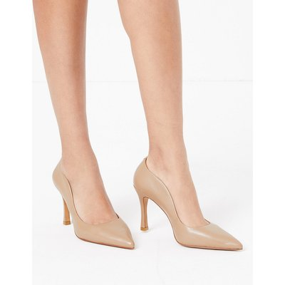 Autograph Leather Stiletto Pointed Toe Court Shoes