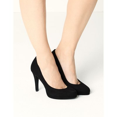 Stiletto Heel Platform Court Shoes black