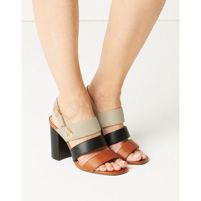 M&S Collection Wide Fit Multi Strap Slingback Sandals