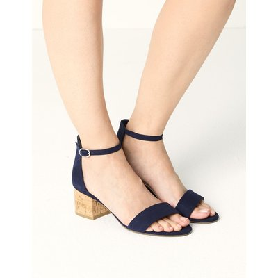 Wide Fit Block Heel Two Part Sandals blue