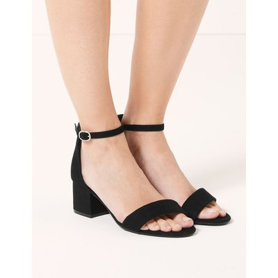 Wide Fit Block Heel Two Part Sandals black