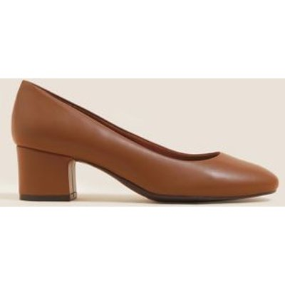 M&S Womens Wide Fit Block Heel Court Shoes - 6 - Topaz, Topaz
