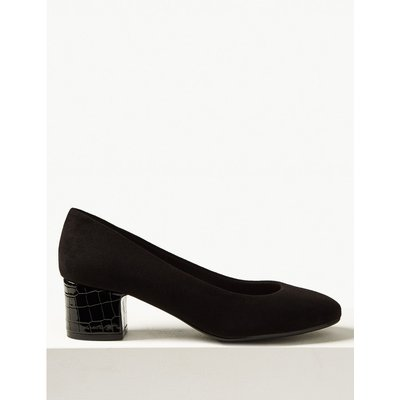 Wide Fit Block Heel Court Shoes black