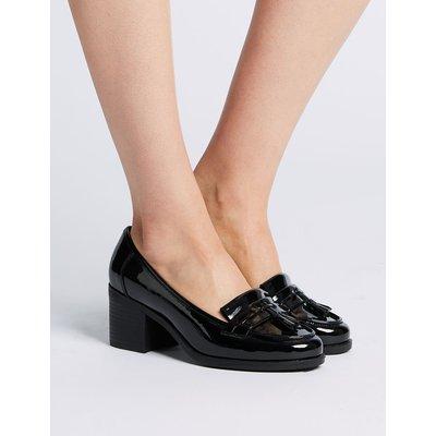 Wide Fit Block Heel Fringe Loafers black