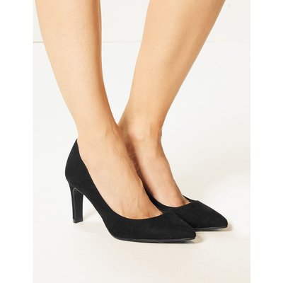 Wide Fit Stiletto Heel Pointed Court Shoes black